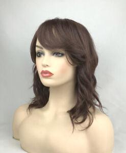 Fashion Medium Long Brown Wavy Heat Resistant Fiber Full Hair Wig Women Wigs+Cap