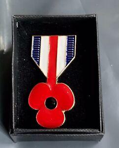 LAPEL POPP Y PIN BADGE BROOCH BOXED ENAMEL Remembrance UK SELLER FREE POSTAGE