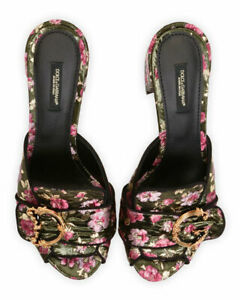NIB Authentic Dolce & Gabbana Floral Slide Mule Sandals size EUR 39/ US 9