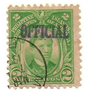 1917 PHILIPPINES/US Hand Stamped OFFICIAL Rizal Stamp PH 290 Used Cleaned
