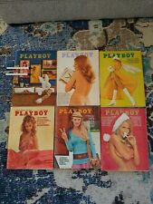 6 Vintage 1970 Playboy Magazines - All With Center Folds