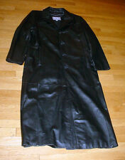 WILSONS LEATHER MENS LONG BLACK LEATHER TRENCH COAT/JACKET MEDIUM SHARP!!!