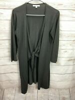 CAbi Brown Knit Tie Front Cardigan Sweater Top Size Small 3/4 Sleeve Women's