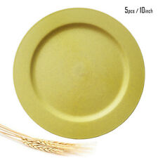 Greenandlife 10inch/5pcs*Yellow Dishwasher & Microwave Wheat Straw Dinner Plates