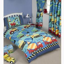 "CONSTRUCTION TIME BOYS JUNIOR DUVET COVER + MATCHING 66"" x 72"" LINED CURTAINS"