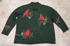Quacker Factory 1X  Plus Size Embellished Christmas Cardinals Cardigan Sweater