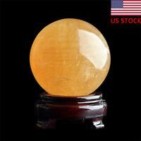 40mm Yellow Citrine Calcite Quartz Sphere Ball+ Stand Healing Sthone Gemstone US