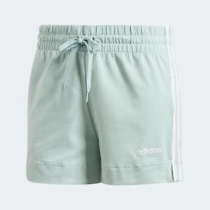 Adidas Women's Essentials 3-Stripes Shorts, Green Tint / White