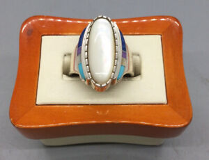 Vintage Carolyn Pollack Relios Sterling Silver Mother Of Pearl Ring - Size 9.5