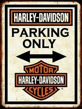 Plaque métal vintage Harley Davidson parking only