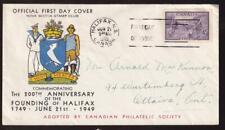 Canada FDC 1949 sc#283 Founding of Halifax, cachet by Nova Scotia Stamp Club