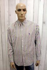 RALPH LAUREN Taglia L Camicia Uomo Cotone Shirt Multicolore Casual Manica Lunga