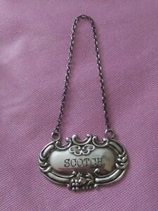Wallace Scotch Sterling Silver Decanter Tag/Label