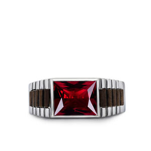 Heavy Mens Cluster Ring Red Ruby Gemstone Solid Real 925 Sterling Silver Jewelry