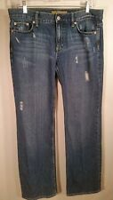 OLD NAVY boy cut Womens Jeans Size 8 short Distressed blue denim 34 x 31
