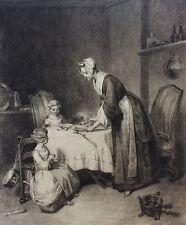 Le bénédicité pointe sèche XIXe d'après Chardin fin XIXe