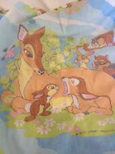 Vintage Walt Disney Bambi Fitted Twin Sheet Faded Cutters Crafts Fabric Deer