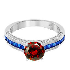 Brilliant Garnet Solitaire with Blue Sapphire Princess CZ Sterling Silver Ring