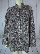 MAGGIE BARNES Blazer Coat 1X 18-20W Plus Sz Brown Beige Poly Crinkle Open Front