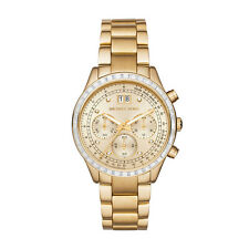 NEW MICHAEL KORS MK6187 BRINKLEY GOLD CHRONOGRAPH WATCH - 2 YEAR WARRANTY