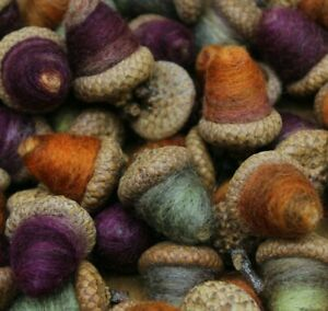 Primitive Halloween Party Needle Felted Wool Acorns Folk Art Melissa Philbrook