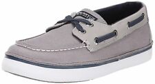 NEW Sperry Top-Sider Cruz Grey & Navy Canvas Boat Shoe Little Kid 1.5 M