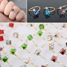 20/10Pcs Wholesale Lots Jewelery Bulks Mixed Square Crystal Silver Plated Rings