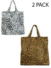 Reusable Shopping Tote Bags Large Shopper Leopard Print Summer 2 Pack Travel New