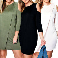Womens Ladies Wrap Over Cut Out Cold Shoulder Midi Bodycon Dress 3/4 Sleeve