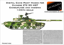 Digital Camo Paint Masks for Chinese ZTZ 99 MBT 1/35 99B 99A + numbers