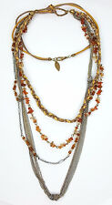 Coldwater Creek necklace multi-strand chain orange stone brown glass beads cord