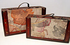 Set Of 2 Vintage Style Old World Map Brass Wooden Suitcase Trunk Storage Box