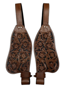 FENDER WESTERN LEATHER SET HORSE SADDLE REPLACEMENT FENDERS PAIR FLORAL TOOLED