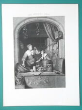 HOLLAND Store Woman Selling Groceries - 1840s Engraving Antique Print