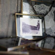 "Nkuku Brass Picture Photo Frame 4 x 6"" Portrait - Kiko Clear Glass Double Sided"