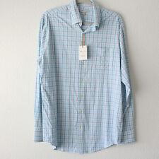 Peter Millar Blue Plaid Long Sleeve Button Down Shirt NWT - Men's Size Medium