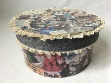 """Small Decoupage Hat Box with Lace Trim Vintage Dolls Lined Storage 8"""" Round"""