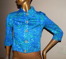 St John Sport sz P Blue Green Multi Leopard Print Button Down Jacket