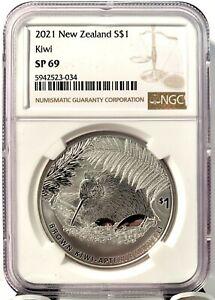 2021 New Zealand $1 Kiwi Specimen 1 oz .999 Silver Coin - 5,000 Made - NGC SP 69