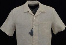 Men's MURANO Khaki Natural Linen Fitted Open Neck S/S Shirt XLarge XL NEW NWT