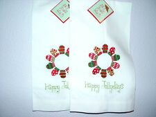 2 Guest Linen Towels Hem-Stitched HAPPY JOLLYDAYS Embroidered NEW Holiday Mitten
