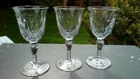 """Set of three crystal sherry / port glasses, unknown maker, 2nds. 4.5"""" tall"""