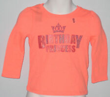 New OLD NAVY Size 12-18 Months Orange Birthday Princess Long Sleeves Tops~Shirt