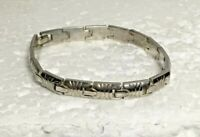 "Vtg Solid STERLING SILVER Striped Panel Link 7.5 in. "" Bracelet 27g etched 925"