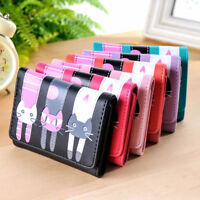 Girls Women Cat Pattern Coin Purse Leather Wallet Card Holders Handbag Pouch L