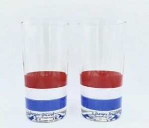 Vintage Pair Georges Briard Highball Red White Blue 4th Of July Cocktail Glasses
