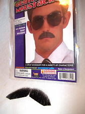 Mustache Human Hair Gentleman Black Forum Tape On