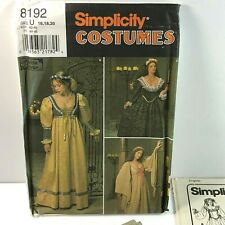 COSTUMES For Cosplay Simplicity Sewing Pattern 8192 Uncut Size U 16 18 20 Schewe