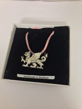 Welsh Dragon PP-G51 Pewter Pendant on a PINK CORD Necklace