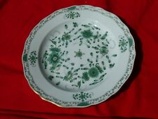 """Pre WW2 MEISSEN 10"""" SCALLOPED DINNER PLATE 1815-1924 Hand Painted Green Indian"""